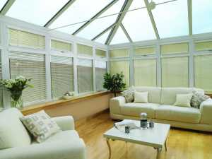 Venetian blinds in conservatory