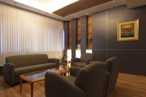 Waiting area with vertical blinds shut
